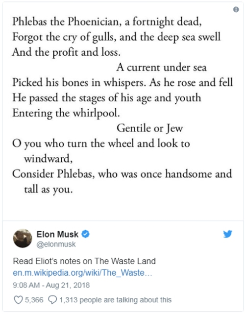 Why Elon Musk Is Reading 'The Waste Land_
